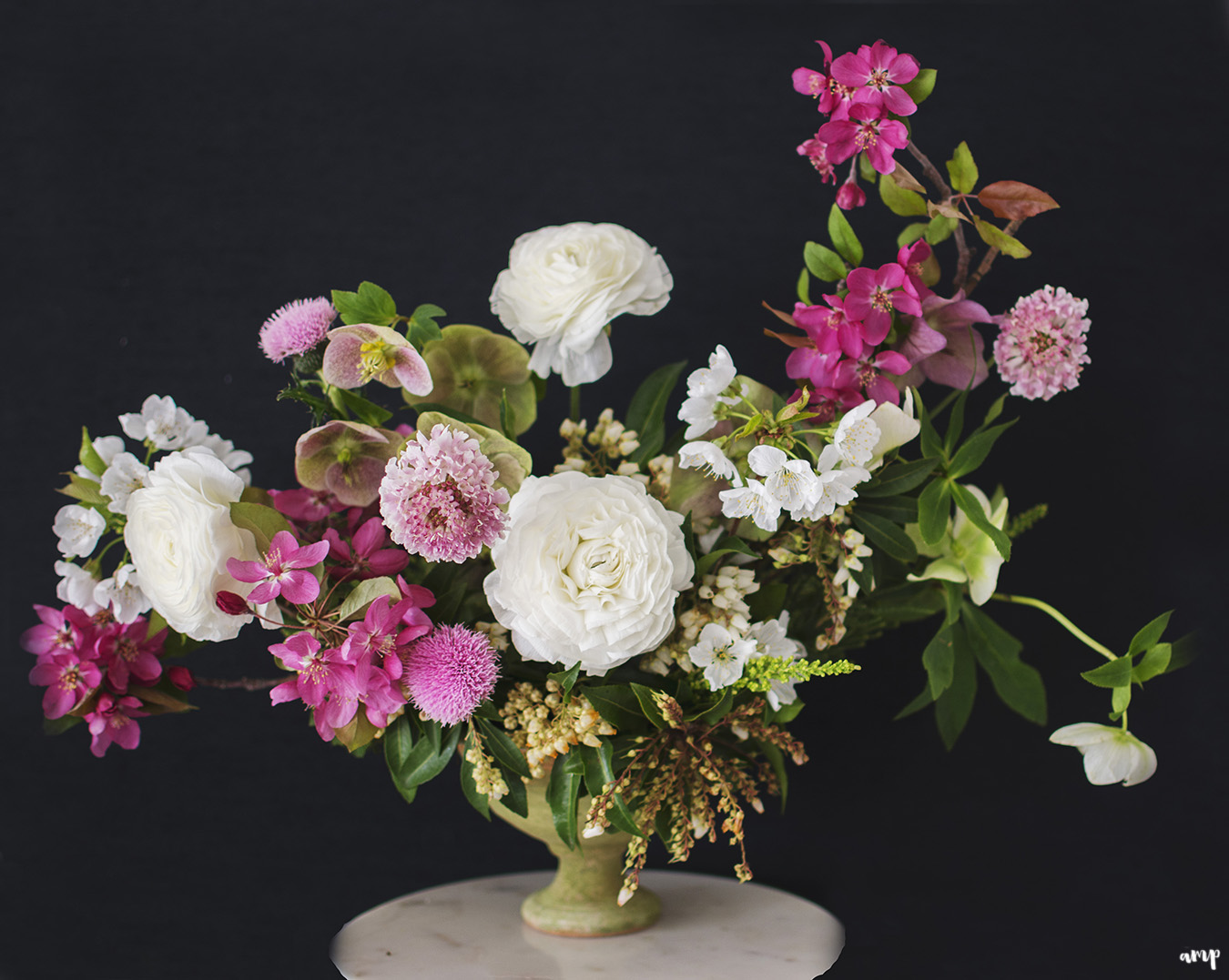 Centerpiece with white and pink florals